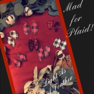 MAD FOR PLAID!! Genuine leather hand-cut earrings
